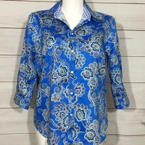 Blue Paisley Chaps Button Down No Iron Top